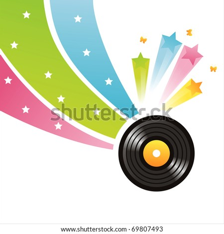 colorful vinyl record background - stock vector