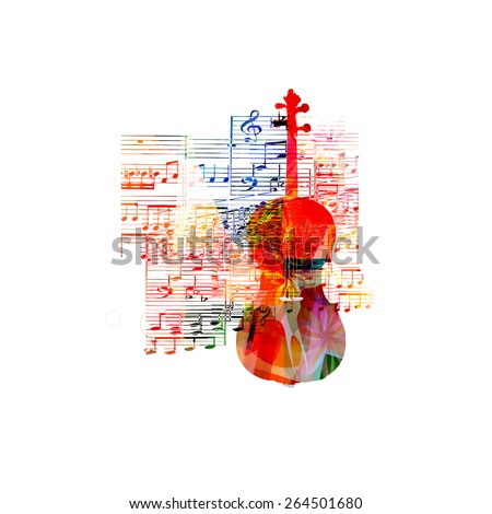 Colorful violoncello design - stock vector
