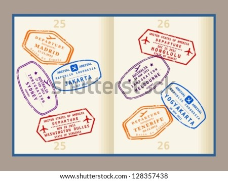 Colorful visa stamps (not real) on passport pages. International business travel concept. Frequent flyer visas. - stock vector