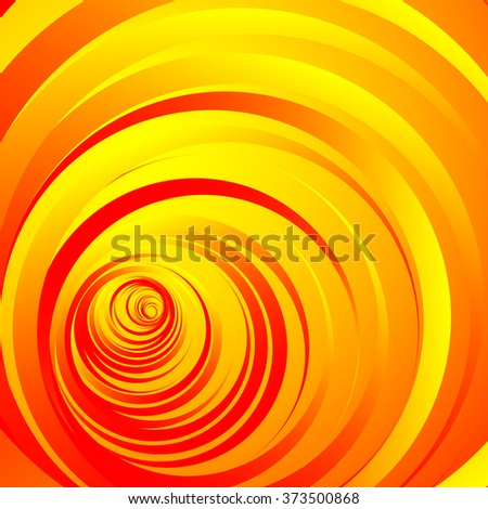 Colorful, vivid background with random, scattered concentric circles. Yellow, red version - stock vector
