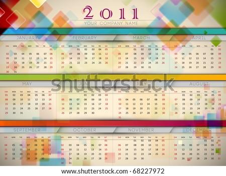 Colorful 2011 Wall Calendar | EPS10 Vector Template - stock vector