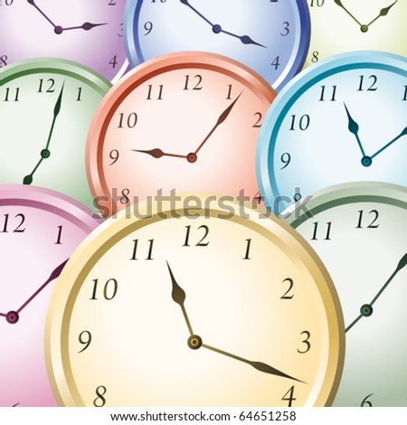 colorful watches - stock vector