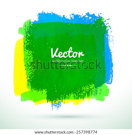 Colorful watercolor banner. Green, blue, yellow. Vector illustration. - stock vector