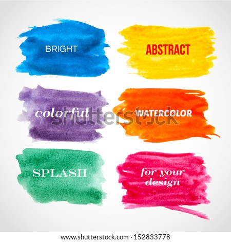 Colorful watercolor banners. Vector illustration. - stock vector