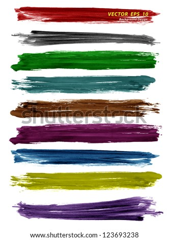 Colorful watercolor brush strokes, Vector illustration - stock vector
