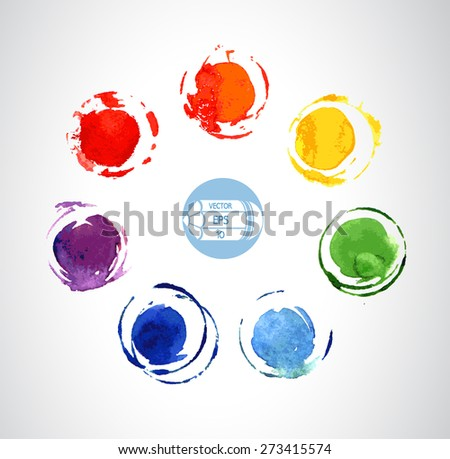 Colorful watercolor circles and spots of paint