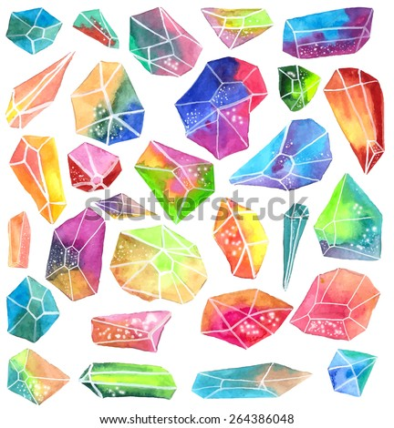 Colorful watercolor gem, beautiful crystal rocks collection over white, VECTOR - stock vector