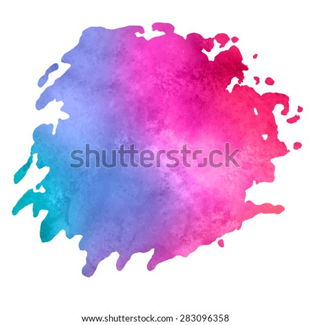 colorful watercolor stain with aquarelle paint blotch - stock vector