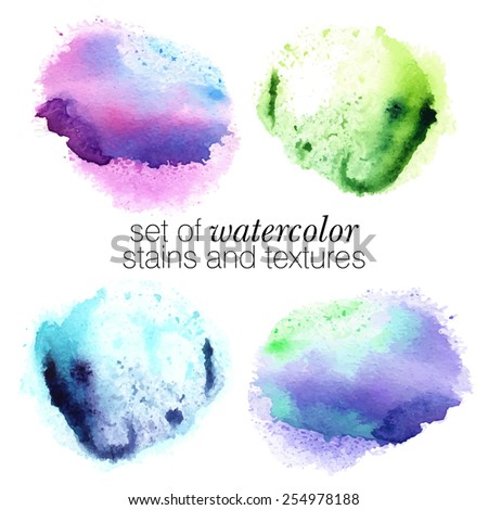 colorful watercolor stains (pink, violet, green, blue) - color print in grunge style, stroke brush and the paint texture - isolated on white paper background vector illustration - stock vector