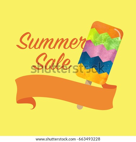 Colorful Watercolor Texture Vector Popsicle Summer Stock Vector