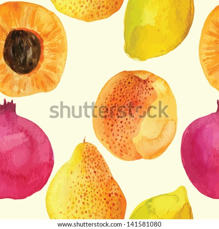 Colorful  watercolor vector fresh fruits pattern design
