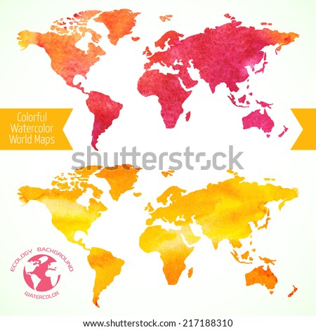 Colorful watercolor world maps. Vector illustration for your design.  - stock vector