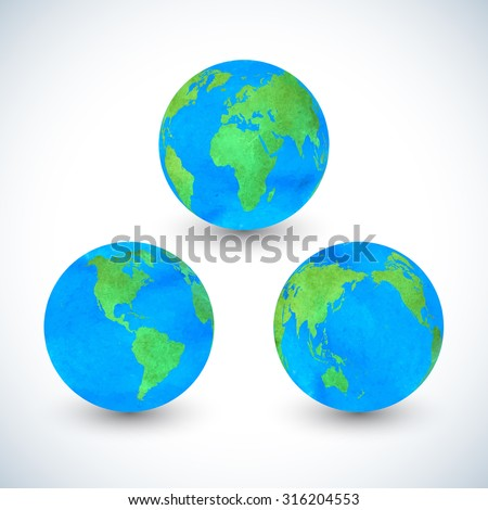 Colorful watercolors set of globes . Hand drawn vector Illustration.