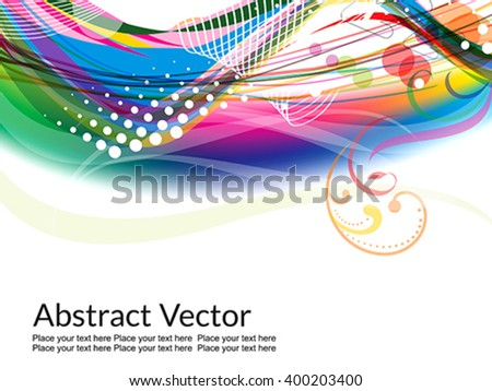 colorful wave abstract design with floral vector illustration