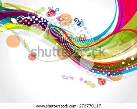 colorful wave background with musical notes vector illustration