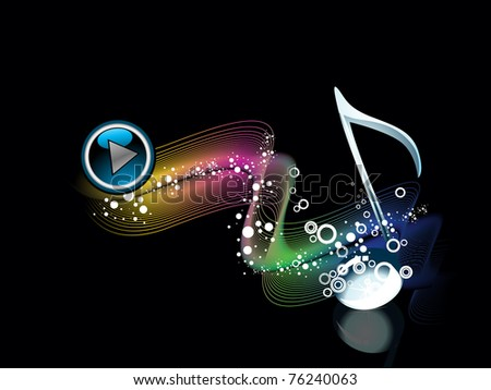 colorful wave, circle background with isolated musical notes, button - stock vector