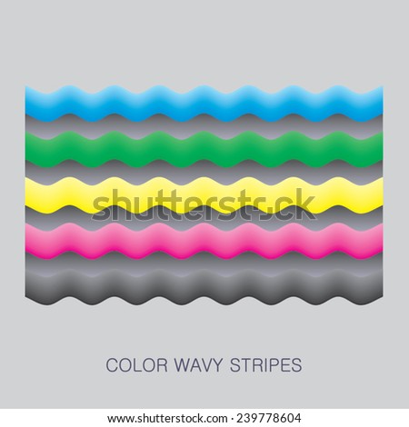 colorful wavy stripes - stock vector