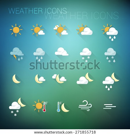Colorful weather icon set on dark blue and green blurred background - stock vector