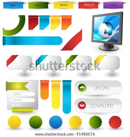 colorful web elements collection - stock vector
