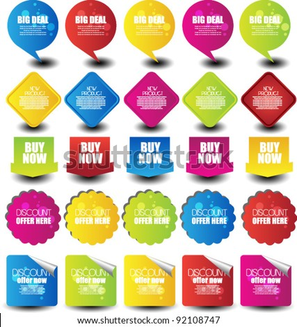 colorful web elements set - stock vector