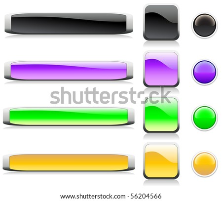 Colorful web shiny buttons. Vector illustration.