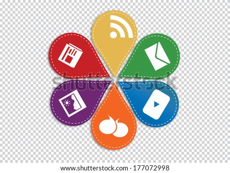 colorful website and internet concept on transparent background. vector illustration - stock vector