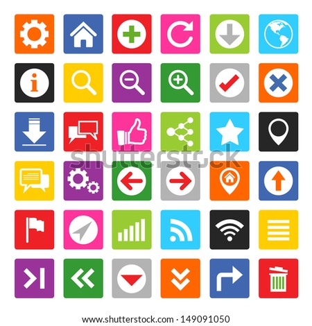 Colorful website and internet icon set