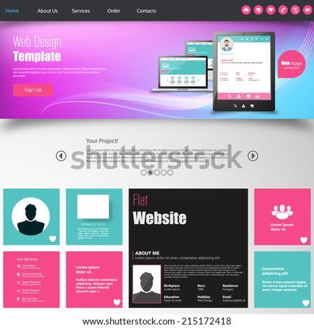 Colorful  website design template. - stock vector
