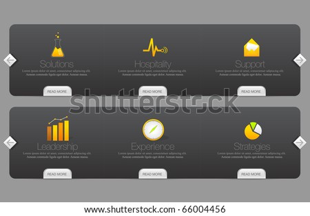 Colorful website menu templates with icons set - stock vector