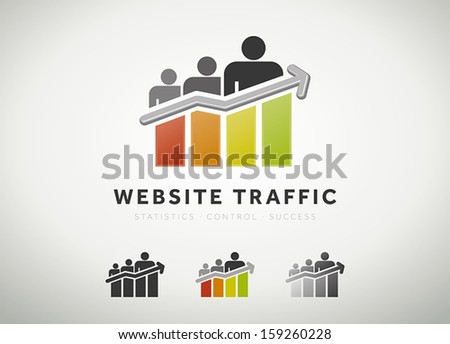 Colorful website traffic and search engine optimization icon - stock vector