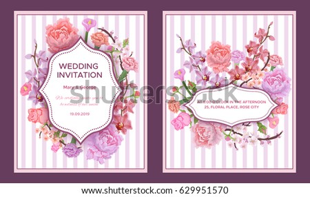 Colorful Wedding Invitation Cards Greeting Text Stock Vector