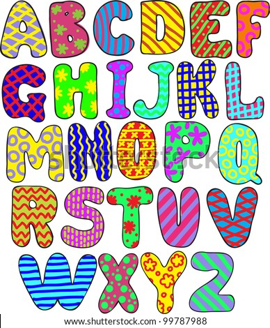 colorful whimsical hand-drawn alphabet - stock vector