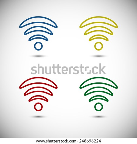 Colorful Wifi Icon Designs - stock vector