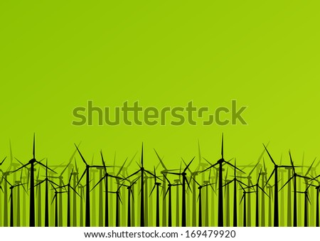 Colorful wind electricity generators and windmills detailed ecology electricity silhouettes illustration collection background vector - stock vector