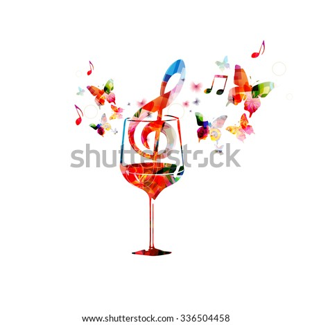 Colorful wine glass with music notes - stock vector