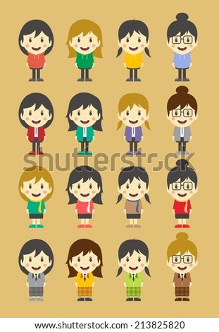 colorful woman cartoon character set