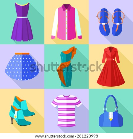 Colorful Woman Clothing Icons Set with Accessories - stock vector