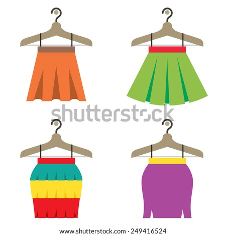 Colorful Women Skirts With Hangers Vector Illustration - stock vector