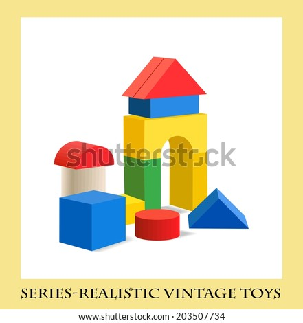 Colorful wooden blocks toy  , Series-Realistic vintage toys - stock vector