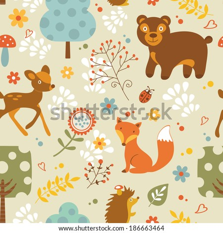 Colorful woodland animals  seamless pattern - stock vector