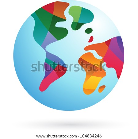 Colorful world, Earth icon, vector illustration