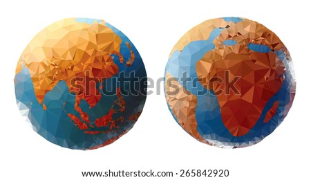 Colorful world globe showing the Asia and Africa continent, low poly vector illustration.  - stock vector