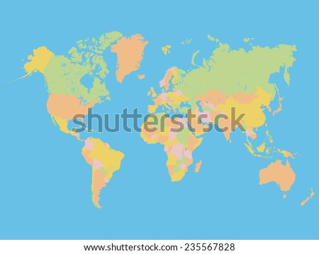 Colorful World Map - stock vector