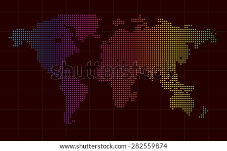 colorful world map square abstract background vector - stock vector