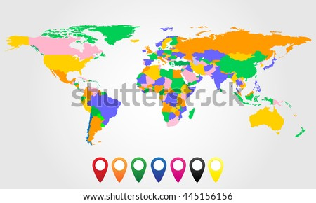 Colorful world map colored markers vector vectores en stock colorful world map with colored markers vector illustration gumiabroncs Gallery