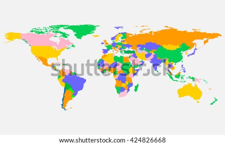 Colorful world map with countries in vector design. - stock vector