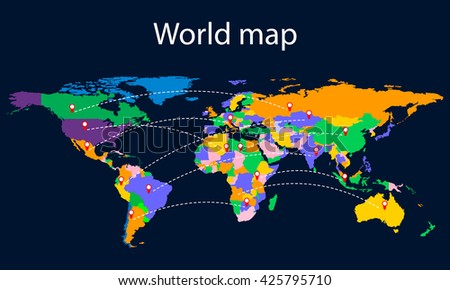 Colorful world map with countries on a dark background. - stock vector