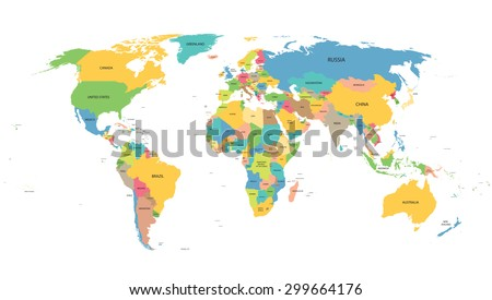 Colorful world map names all countries vector de stock299664176 colorful world map with names of all countries gumiabroncs Choice Image