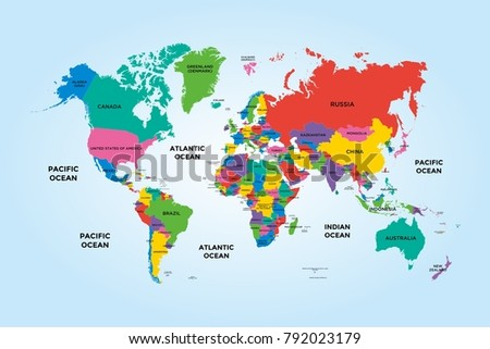 Colorful world political map country name stock photo photo vector colorful world political map with with country name publicscrutiny Image collections