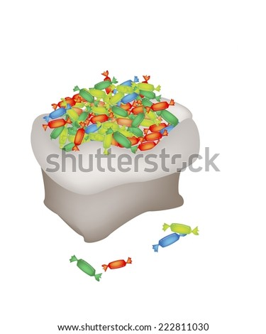 Colorful Wrapped Hard Candies in A Canvas Bag Isolated on A White Background.  - stock vector